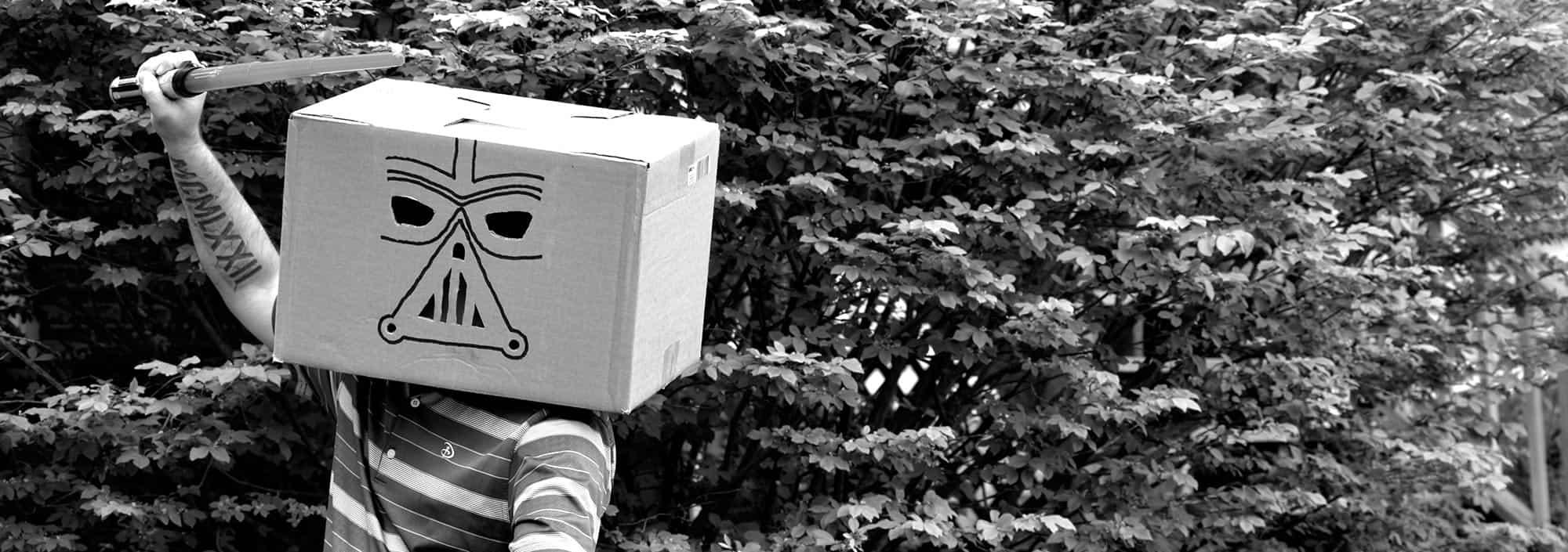 cardboard box on head