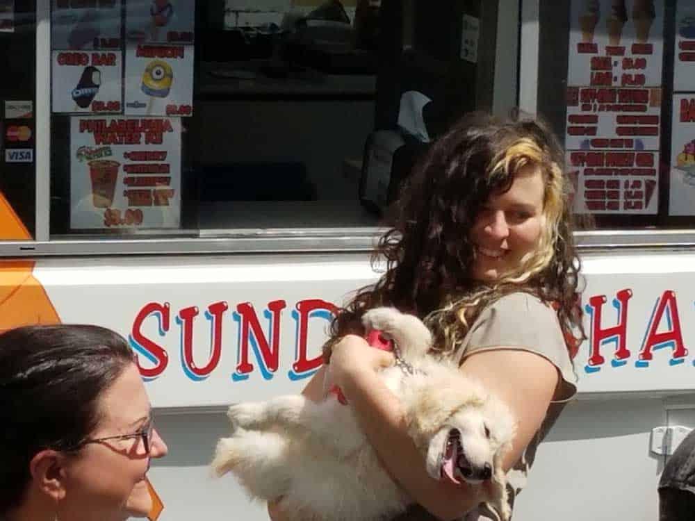 Veronika holding puppy