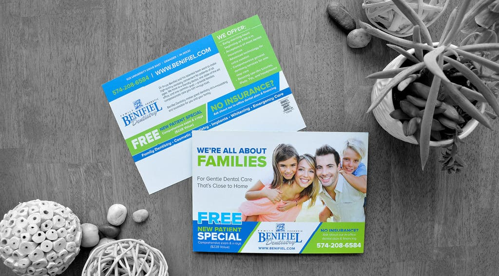 Family dentistry direct mail postcard