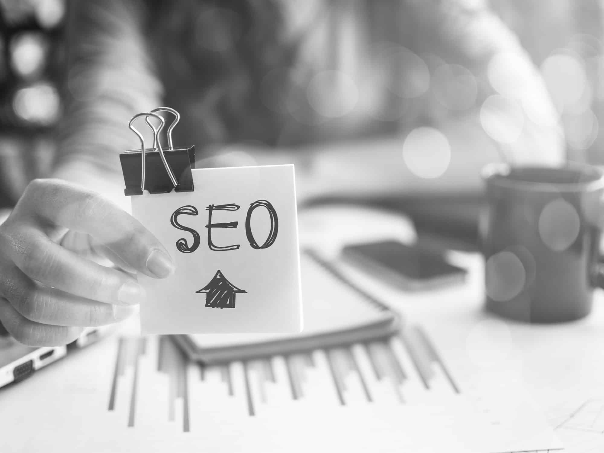 Dental SEO on post it note black and white image