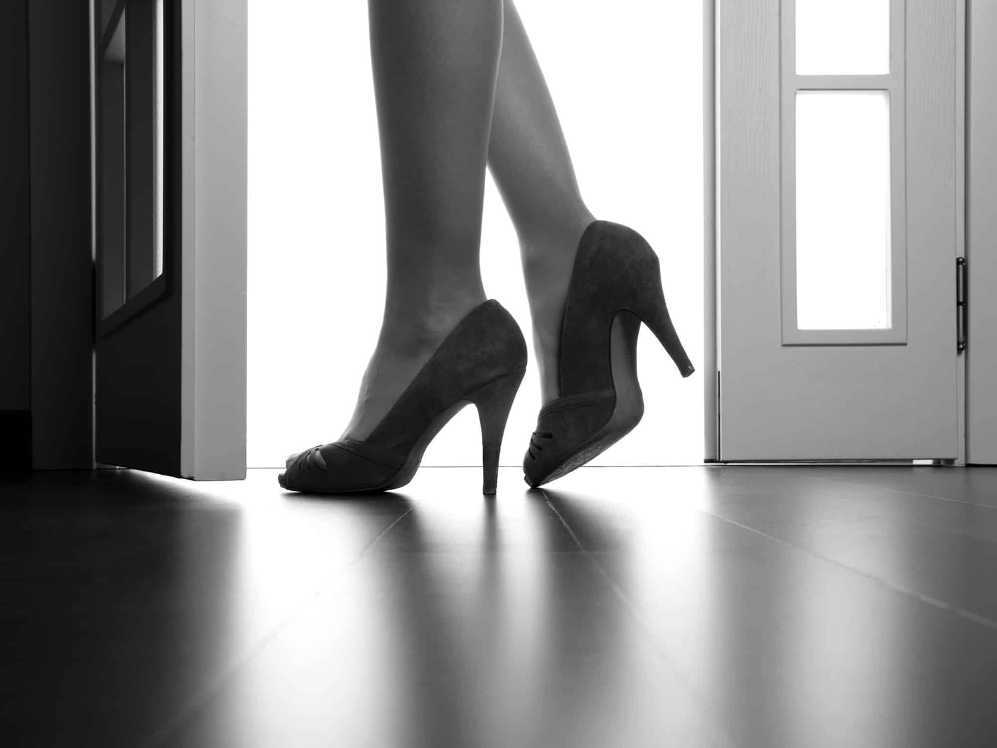 heels at door black and white
