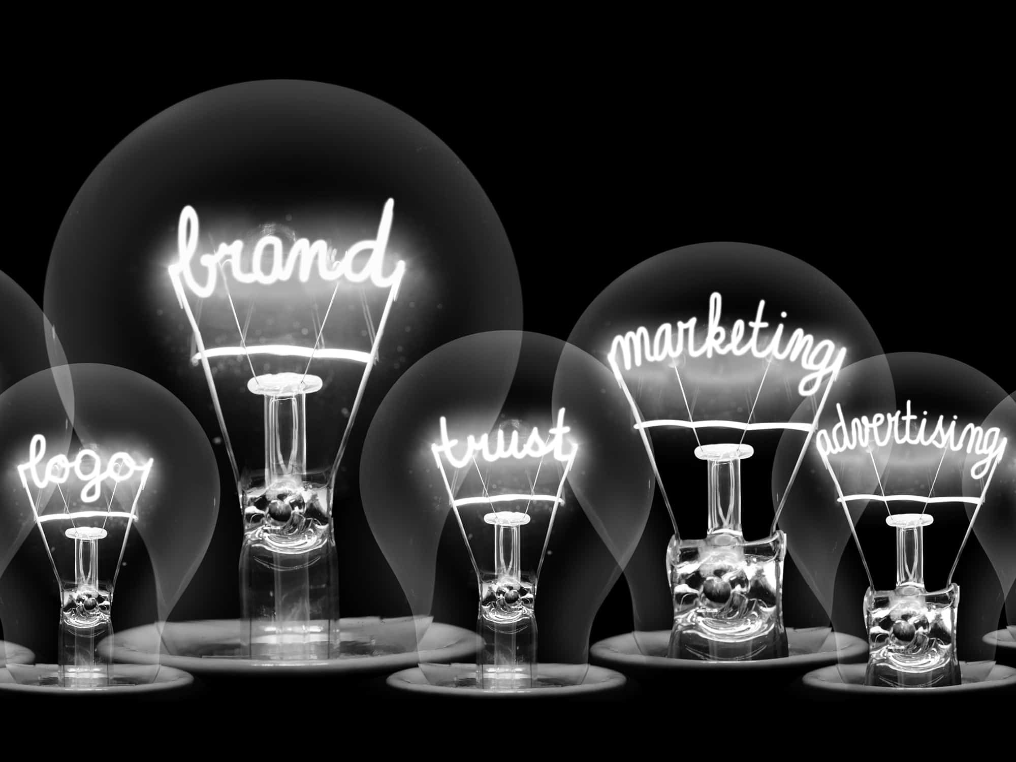 light bulbs containing marketing words in the filaments B&W