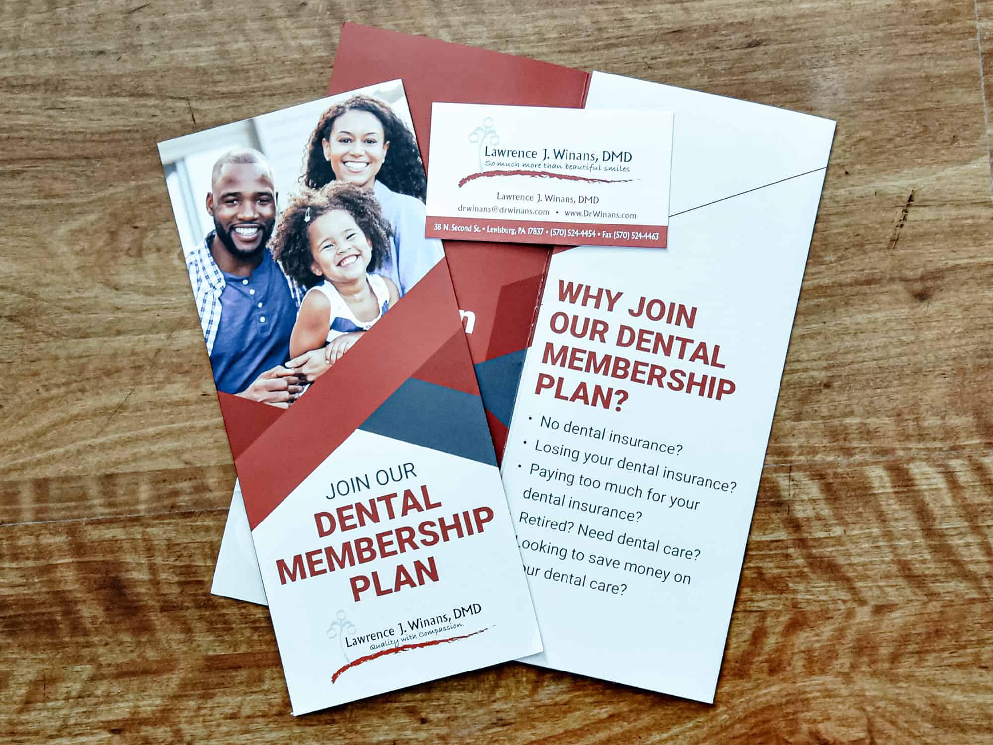 brochure for dental membership plan on table