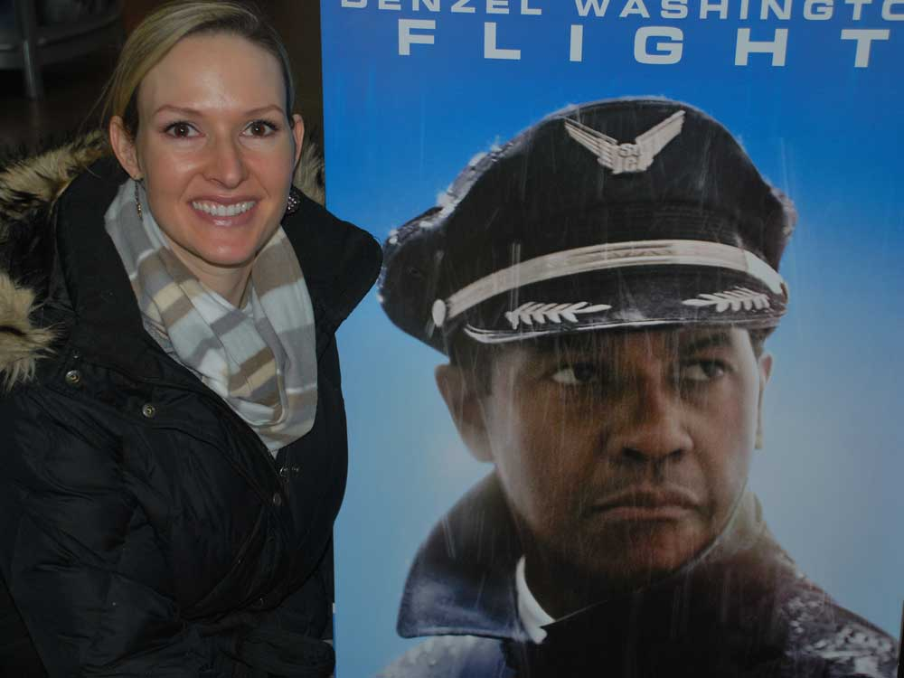 sarah with movie poster